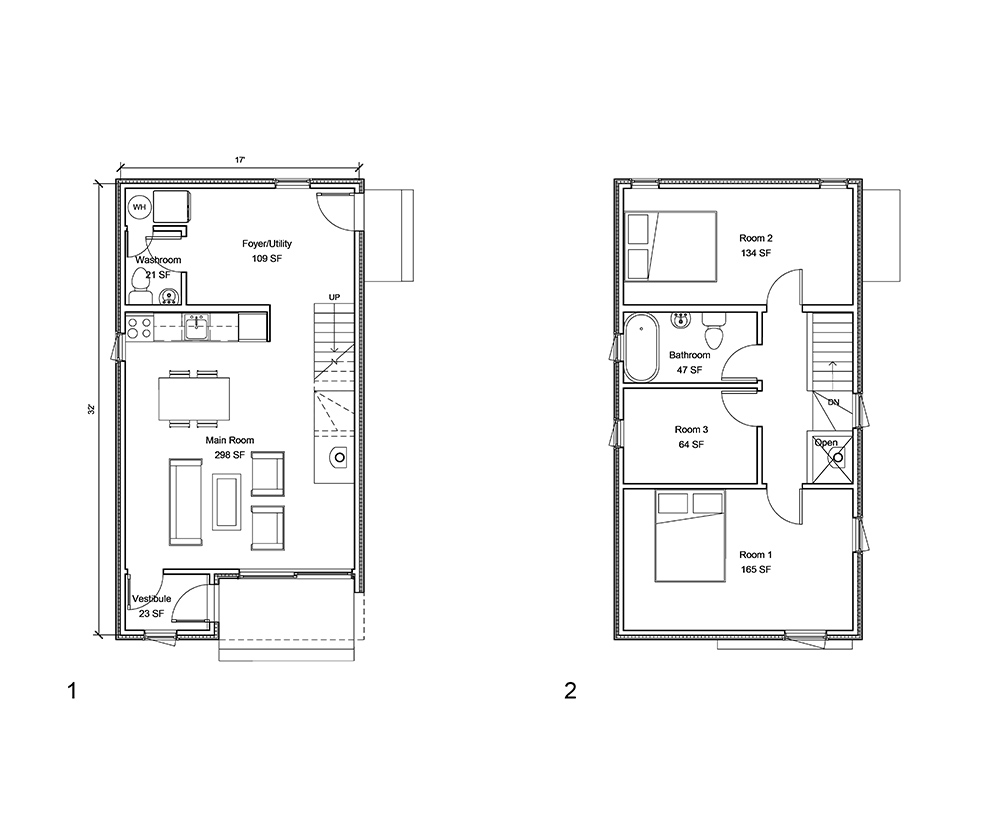 Small house cabin shed laneway house for 02 floor plan